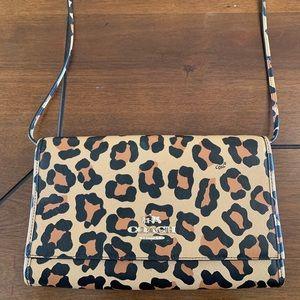 Coach leopard print shoulder bag